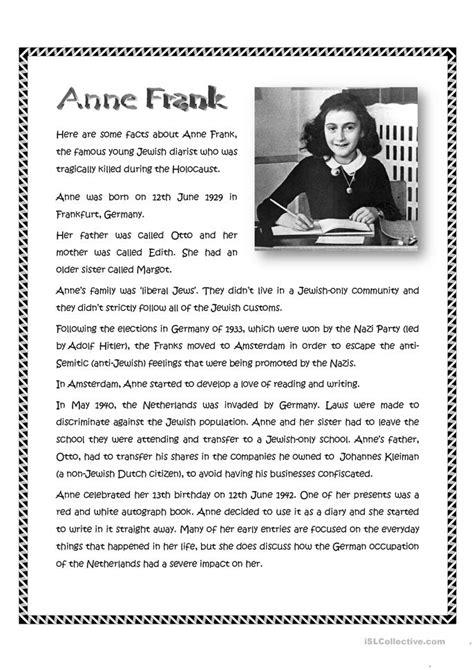 anne frank worksheet  esl printable worksheets
