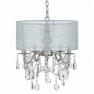 Drum Shade Light Kit 5 Light Silver Crystal Plug In Chandelier With Shade