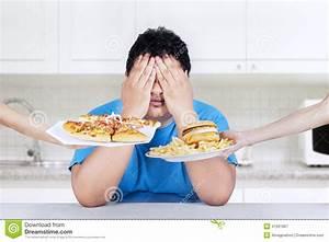 Fat Overweight Man Eat Burger, Junk Fast Food Vector ...