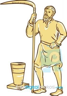 Medieval Farmer Holding Scythe Etching Stock Image