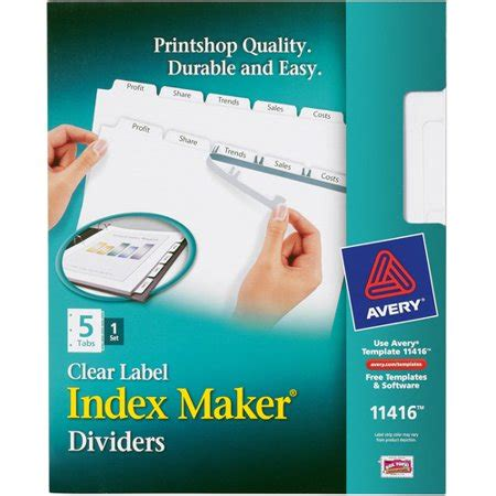 avery maker clear label dividers 5 tab white