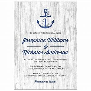 Anchor on rustic wood background nautical wedding invitation