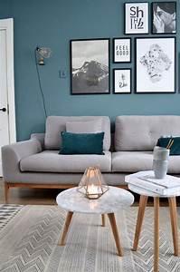 1001 idees deco salon bleu canard paon petrole du With sol gris quelle couleur pour les murs 12 salon bleu petrole bleu canard et bleu paon