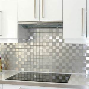 mosaique douche carrelage inox credence cuisine damier 48 With carrelage mural cuisine mosaique