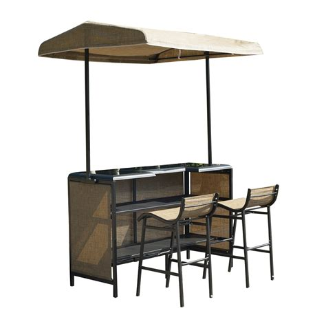 pub table and two chairs outsunny 3 piece outdoor mesh cloth canopy bar set table