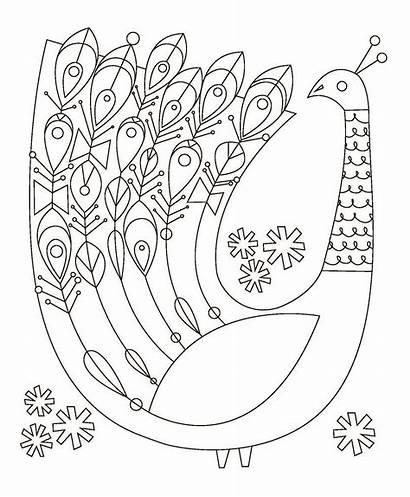 Mid Century Modern Illustrations Coloring Books Animals