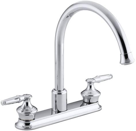 kohler gooseneck kitchen faucet kohler k 15888 k cp polished chrome double handel kitchen faucet with gooseneck spout from the