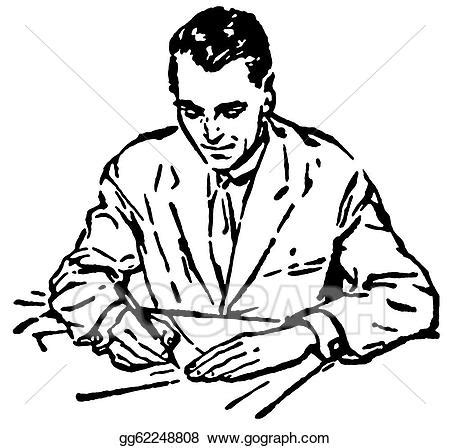 bw it help desk stock illustration a black and white version of a man