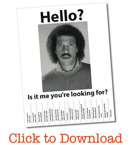 Hello Is It Me You Re Looking For Meme - lionel richie wanted poster free pdf