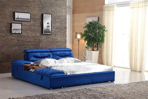 unique king size blue farbic bed frame    beds