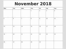 Printable Monthly Calendar November 2018 happyeasterfromcom