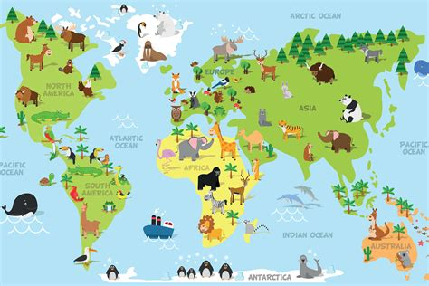 Animal World Map Wallpaper - animal world map wallpaper for decor