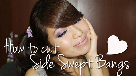 cut side swept bangs fringe youtube