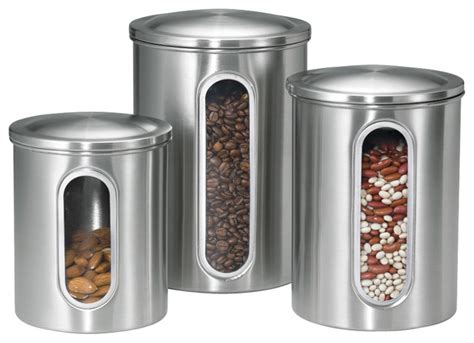 contemporary kitchen canisters canisters with windows stainless steel set of 3