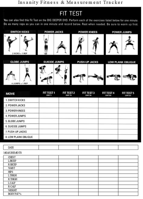 insanity workout sheet the insanity fit test sheet