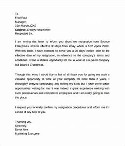 8 Sample 30 Day Notice Letter Templates Download For Free