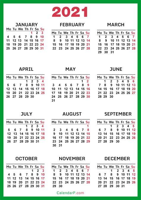 calendar printable  green monday start