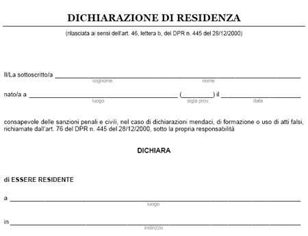 Herunterladen Certificato Di Residenza Autocertificazione Buygodown