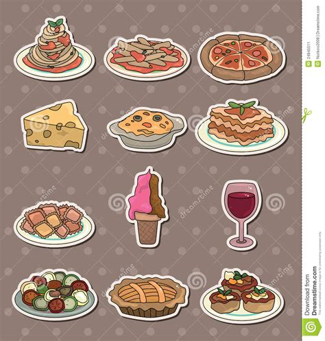 sticker mural cuisine amazing italy food stickers stock image image stickers