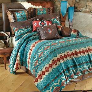 Western, Bedding, King, Size, Cerrillos, Hills, Turquoise, Bed