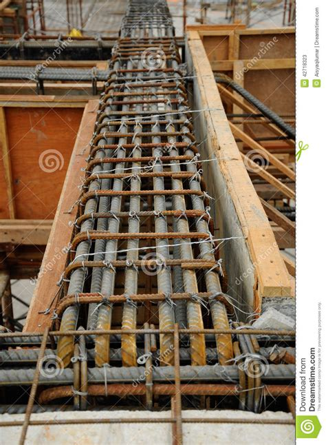 beams reinforcement bar  timber formwork stock photo