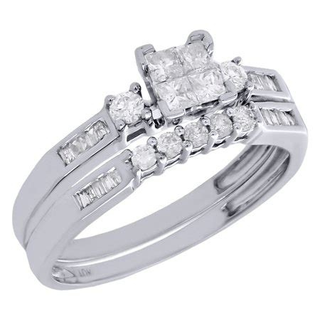 jewelry for less 10k womens white gold princess cut engagement bridal wedding ring