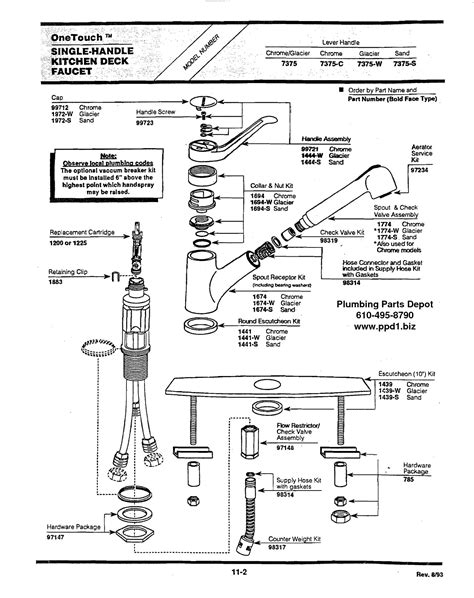 american standard kitchen faucet parts diagram