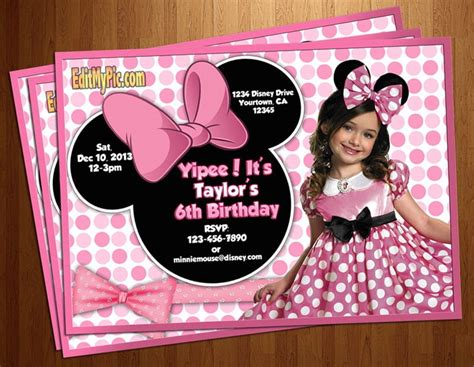 minnie mouse birthday invitations personalized drevio