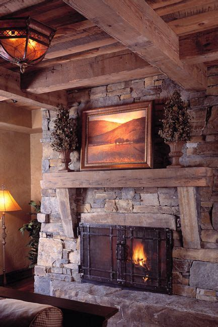 stone fireplace  wood beams