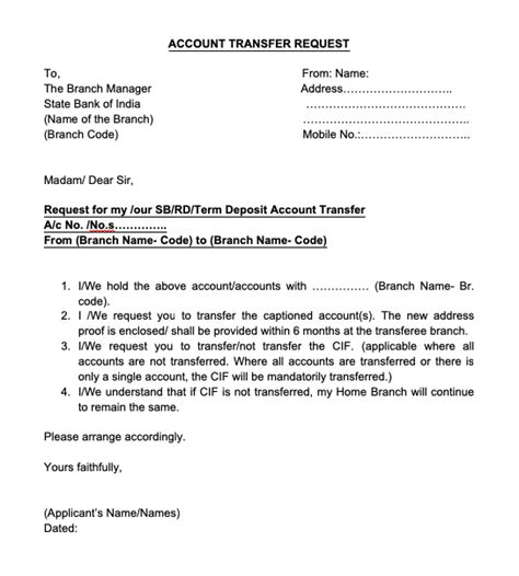 bank account transfer letter  english top form
