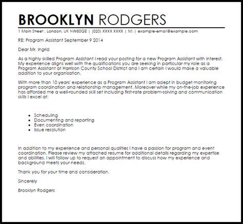 program assistant cover letter sample cover letter