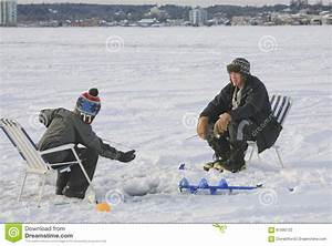 Ice Fishing Barrie  Ontario  Canada Editorial Photography