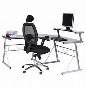 Bureau D Angle Design : bureau d 39 angle en verre noir job bureau informatique design ~ Teatrodelosmanantiales.com Idées de Décoration