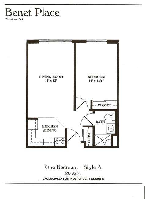 1 Bedroom Apartment Floor Plans by Floor Plans Benet Place Senior Apartments Independent