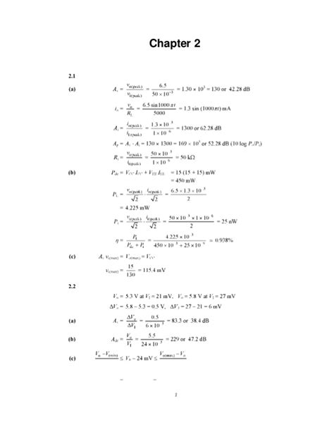 Solutions Manual Microelectronic Circuits Analysis
