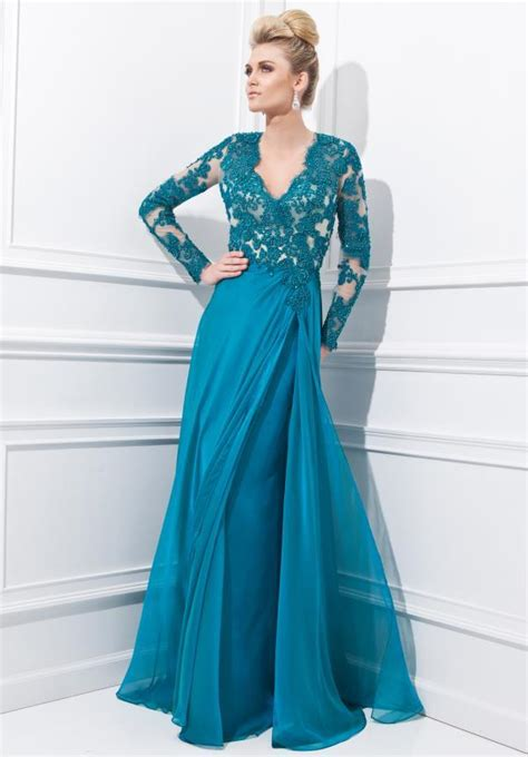 Lace Teal Mother Of The Bride Evening Dresses 2015 Long ...