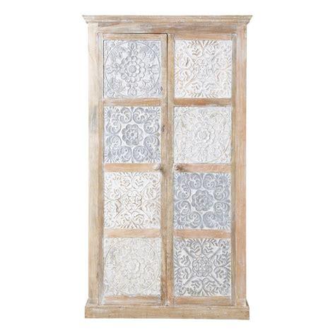 armoire en manguier massif blanche et argent 233 e l 100 cm