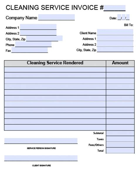 house cleaning invoice dascoopinfo