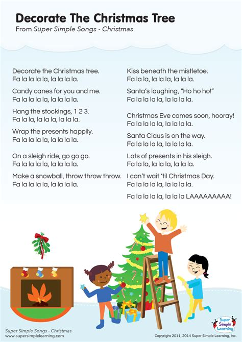 christmas tree songs for kids decorate the tree lyrics poster simple