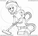 Maid Clipart Cartoon Vacuuming Happy Lineart Illustration Clip Visekart Royalty Vector Background sketch template