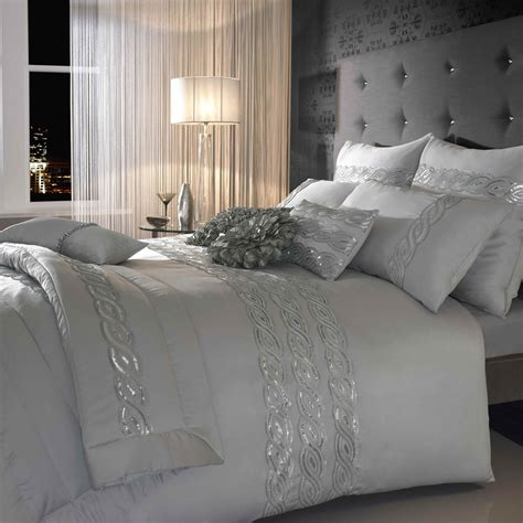 donna karan bedding sequins wave silver bedding set day delivery