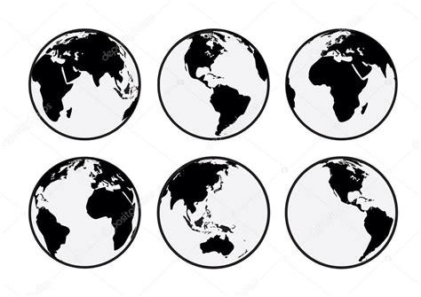 foto de six noir et blanc vector globes terrestre Image