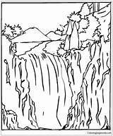 Waterfall Coloring Pages Falls Niagara Printable Nature Getcolorings Coloringpagesonly sketch template