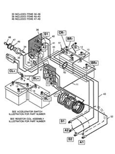 Club Car Forward Switch Wiring Diagram 48 Volt Battery by Basic Ezgo Electric Golf Cart Wiring And Manuals Cart