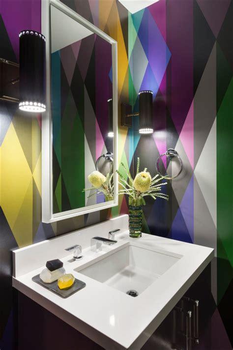bold colorful powder room contemporary powder room