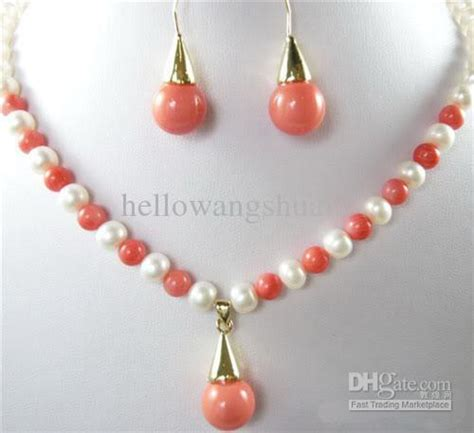 real white pearl pink coral pendant necklace earrings