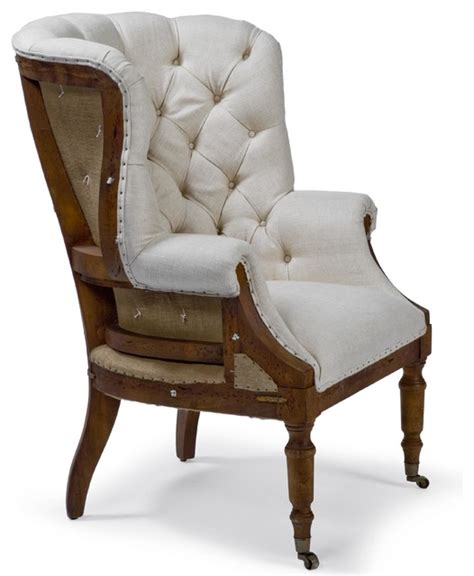 Country Accent Chairs by Liesl Country Deconstructed White Linen Wing