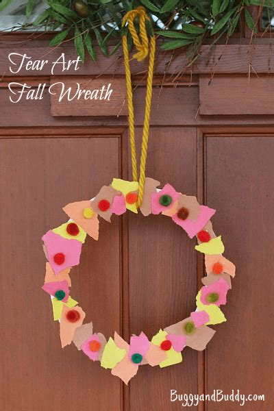 easy activities for preschoolers fall crafts for tear fall wreath buggy and buddy 766