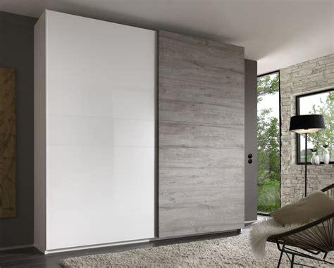 couleur de chambre à coucher armoire design 2 portes coulissantes blanc laqué gris