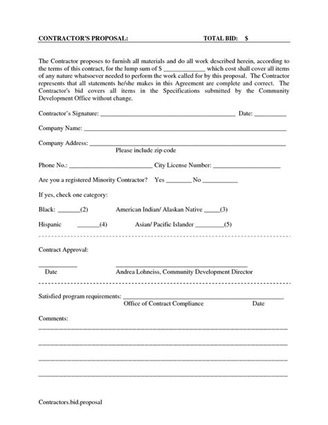 printable blank bid proposal forms scope  work